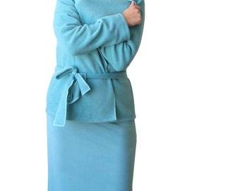 Custom winter jacket, fleece jacket, Blue jacket, Long sleeve jacket, Wrap jacket, Shawl collar jacket, Plus size clothing, XL, XXL, Fleece