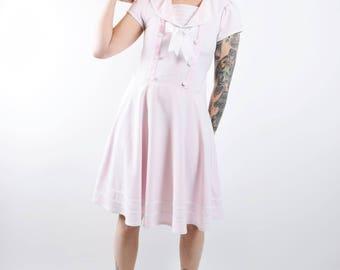 VTG Kawaii Pastel Pink Sailor Moon Mini Dress Cosplay Cotton Candy Bow Double Breatsed Midi Knee Length Costume Vintage XS/S Medium