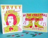 Western Boogie Pack of Four Screen Printed Christmas Cards