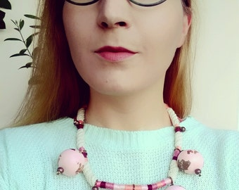 Rope Statement Necklace, Light Pink Necklace, Chunky Bead Necklace, Beaded Bib Necklace