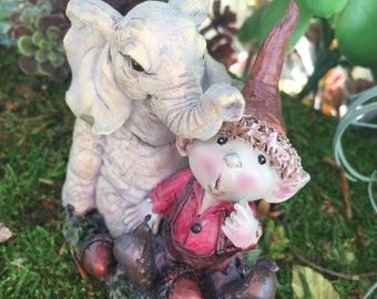 Mini Pixie Figurine, Young Fairy Garden Pixie With Elephant, Fairy Garden Accessory, Home and Garden Decor, Miniature Garden Deco