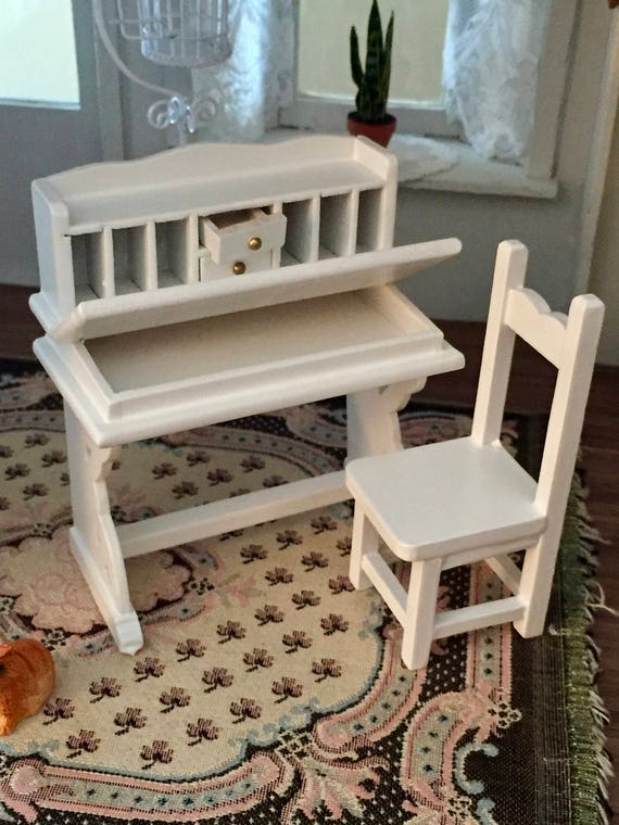 Miniature Desk and Chair, White Flip Top Desk with Drawers and Cubbies, Dollhouse Miniature Furniture, 1:12 Scale, Mini Wood Desk