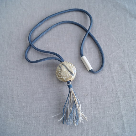 TASSEL necklace gathered lace porcelain pendant, boho necklace, festival necklace, denim blue satin cord linen tassel