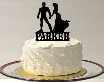 MADE In USA, Personalized Superhero and Bride Wedding Cake Topper, Silhouette Wedding Cake Topper Superhero Bride and Groom Hero Cake Topper