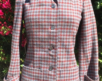 1960s Wool Houndstooth Fitted Jacket J. Tiktiner France