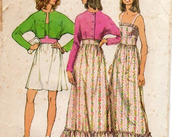 1970s Womens Sundress & Bolero - Vintage Pattern Simplicity 5508 - Size 12 Bust 34 UNCUT FF