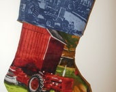 Farmall Tractor Handmade Lined Christmas Stocking Red Tractor Black Dog
