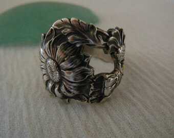 Daisy Spoon Ring  Antique  Sterling Silver  Size 8.5