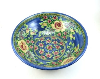 Large Ceramic Bowl -  Blue Porcelain Dish with Hand Painted Floral and Rose Design