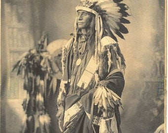 Native American 1898 Poor Dog Sioux image print 8 x 10 card stock