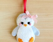 Pastel Blue Felt Penguin Decoration, hanging decoration festive decor cute christmas tree decorations felt bird xmas ornaments penguin gifts