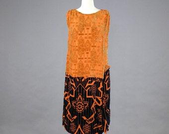 1920s Flapper Dress, 20s Burnout Velvet Dress, Art Deco Dress