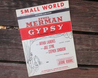1959 Small World Sheet Music from the Musical Gypsy, Lyrics by Stephen Sondheim, Music by Jule Styne, Vintage Broadway