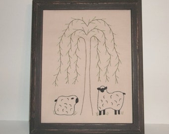 UNFRAMED Primitive Stitchery Sheep Willow Tree Rustic Country Home Decor Decoration Picture Decorative Hand Stitched 8x10 Inch wvluckygirl