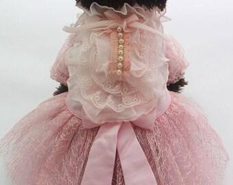Pet Dog Wedding Dress Princess Tutu Skirt Pearls Lace Clothing Costume