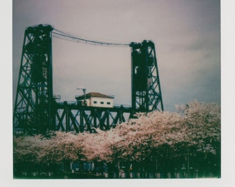 Steel Bridge Spring Blossoms Instant Photo - Decorate with a vintage feel - Free Domestic Shipping