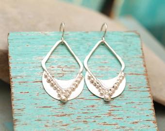 Ornate Crescent Diamond Earrings