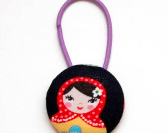 Russian Nesting Doll Fabric Covered Giant Button Pony Holder