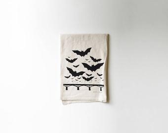 Bats over Congress Bridge | Printed Flour Sack Tea Towel | Black | Screen Printed | Absorbent Dish Towel | Cloth Towel | Natural Cotton