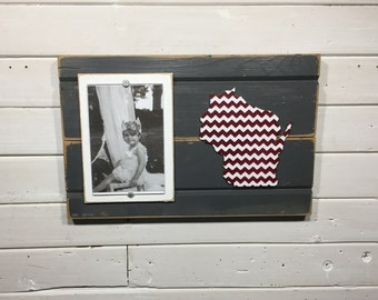 "Wisconsin chevron picture frame holds 4""x6"" photo CUSTOMIZABLE"
