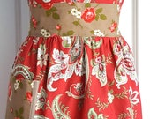 Women's Full Apron - Red Apron - Floral Apron - Lined - Shabby Chic Apron