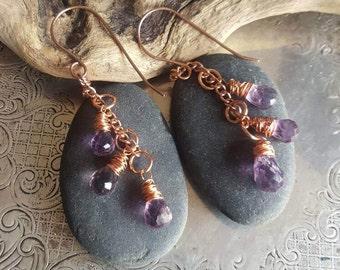 Amethyst Dangle Earrings. Copper Dangle Amethyst Earrings. Handmade Copper Earrings. Purple Crystal Earrings. Casual Everyday Boho Earrings.