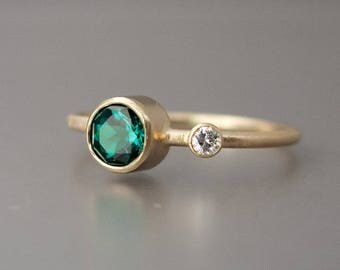 Gold Ring with Chatham Emerald and Reclaimed Diamond - Alternative Engagement or Right Hand Ring in 14k Gold