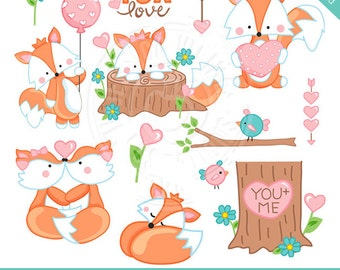 Foxy Valentine Cute Digital Clipart for Commercial or Personal Use, Valentine Fox Clipart, Valentine Clipart, Cute Foxes