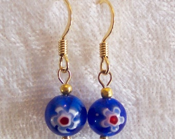 Blue Earrings, Millefiori Glass Earrings, Red White Blue Earrings, Gold, Flower Earrings, Single Bead Earrings, Clip on Available, Italian