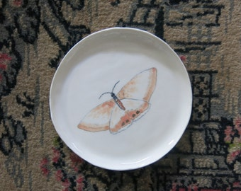 Ceramic Woodland Butterfly Hand Drawn Fine Art Plate Dish One of a Kind Gift Idea Home Decor, Handmade Artisan Pottery by Licia Lucas Pfadt