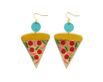 Pizza Earrings, Gold Earrings, Pop Art Food Earrings, Leather Earrings, Statement Earrings, Food Earrings, Pizza Jewelry, Fast Food Jewelry