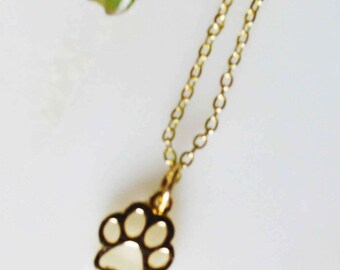 paw print necklace w box, gold paw print necklace, dog print necklace, pet necklace, paw necklace, cat paw necklace, Love my dog cat card