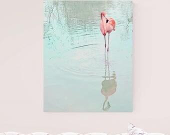 flamingo canvas, flamingo art, tropical decor, pink flamingo decor, gallery canvas art, flamingo photo, pink and aqua art, canvas print