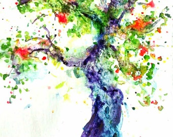 Tree 30in30 Day 2 Narly Old Apple Tree watercolor ORIGINAL art Big twisted Apple tree art