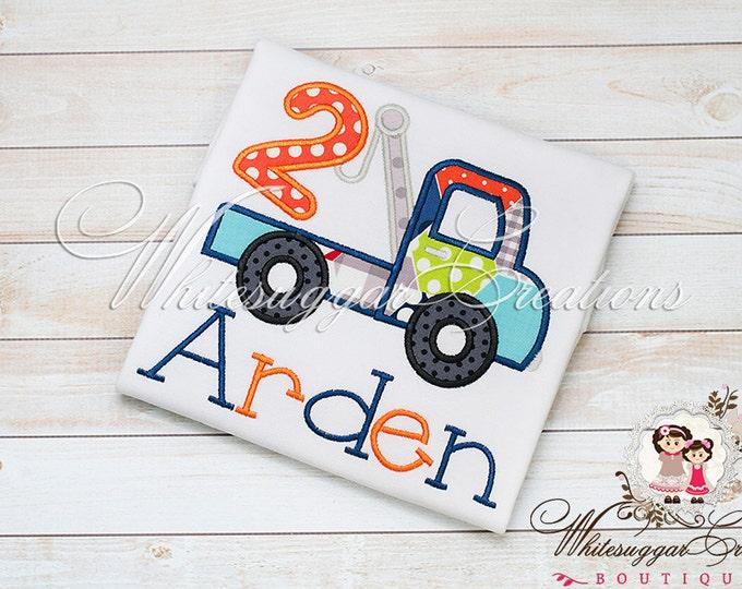 Baby Boy Birthday Truck Shirt - PREMIUM Custom Embroidered Boy Construction Shirt - Boys Birthday Party - Pick-up Truck