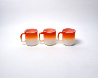 Two Tone Orange/White Fire King Mugs - Set of 3