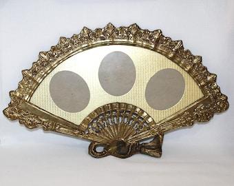 Vintage Ornate Brass Fan-Shaped Triple Photo Frame - (586-4)