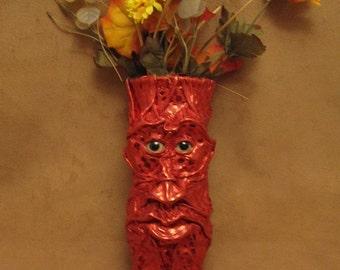 "Grichels medium flower vase - ""Dlanoon"" 29212 - red metallic dot leather with lemonade fish eyes"