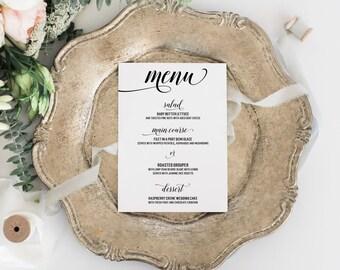 Modern Wedding Menus, Black and White Menus, Calligraphy Wedding Menus, Classic Menu Cards, 5 x 7 - The Jocelyn Wedding Menu Sample