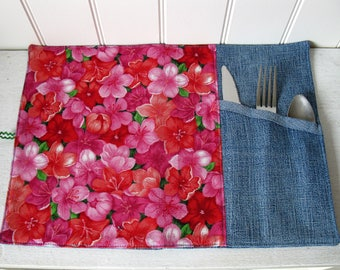Placemat Lunch with Ustentils Section for School or Lunch Office,Travel Roll up Placemat, Reusable  ... 100% coton and jeans