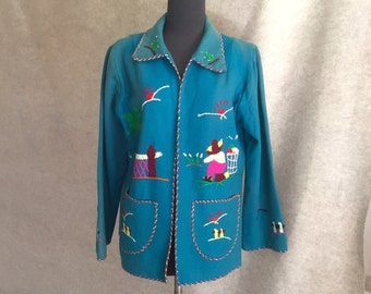Vintage 50's Mexican Jacket, Embroidered Souvenir Coat, Blue Turquoise Wool Flannel, Size Small to Medium, Rockabilly Style, SALE