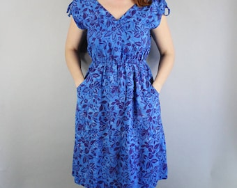 Summer Dress, Hawaiian Dress, Royal Blue, Floral, Midi, Festival, Hippie, Vintage 90s, Beach, Vacation, Tropical, Size Medium