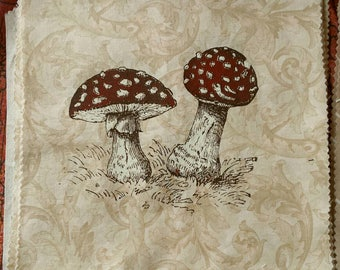 Amanita 3 - colour hand printed patch