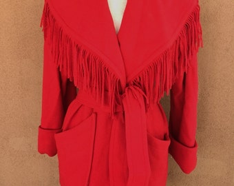REDUCED PRICE - Vintage 80s -  Winter sale/ Wool Short Coat with Fringes and Cuffs