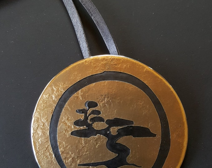 Etched African Tree Hypoallergenic Pendant Necklace  Stainless Steel Bronze & Black Personalized Necklace Hand Forged Signed Original /Strap
