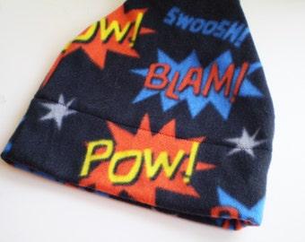 Words fleece Hat, Pow Fleece Cap, Superhero Fleece Hat, Superhero Words Hat, Black Fleece Slouchy Hat, Black Fleece Beanie Hat