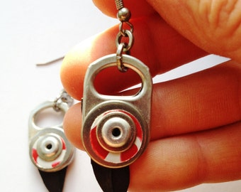 Earrings, Red and White detail, with Black Rubber, Riveted Ring Pull Dangle Earrings, Surgical Steel Ear wires