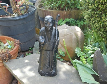 16 inch Antique 20th Century, Chinese hand carved Wiseman / Old Man / Wise Scholar / God of Longevity, Immortal Figurine w/ aged Black Paint