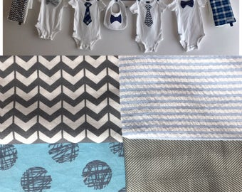 Baby Shower Decoration, Boy, light blue and gray clothesline with Tie and Bow Tie Onesies, Burp Cloths, Bib, ribbon and clothespins included