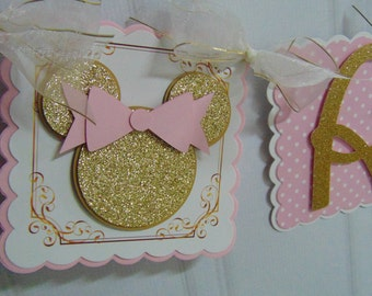 Minnie Mouse pink and gold Disney Happy Birthday and Name Banner